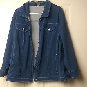 Bob Mackie Smart Denim Jacket with Contrast Stitch